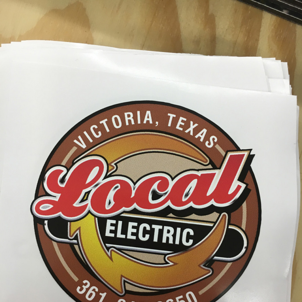 custom decal made in Victoria, TX with the logo for local electric