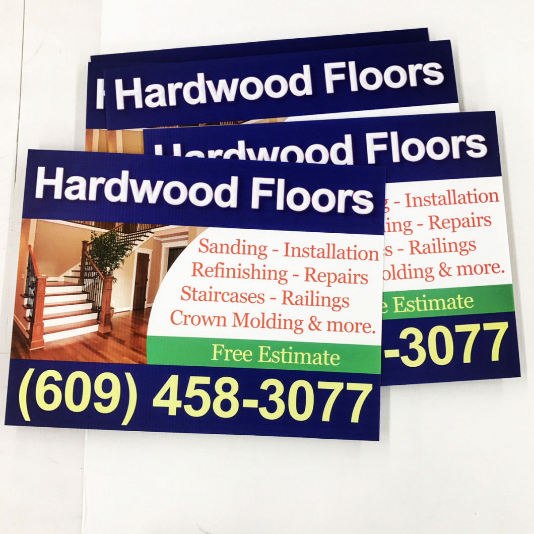 signage made in Victoria, TX for a hardwood floor company