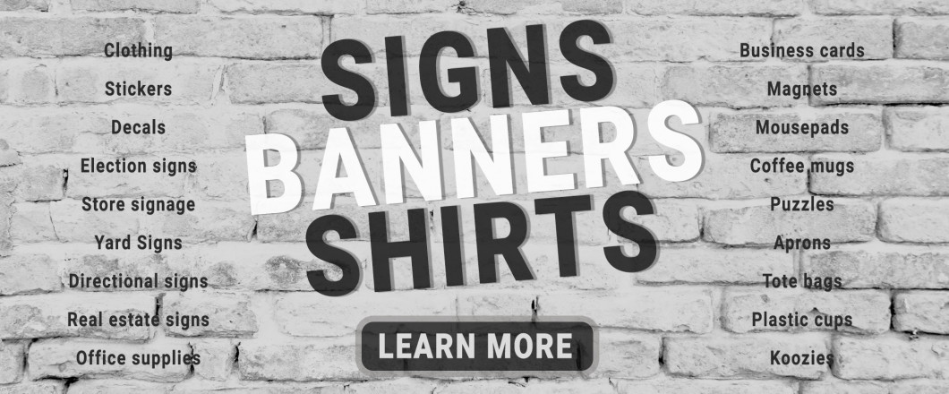 signs banners and shirts graphic