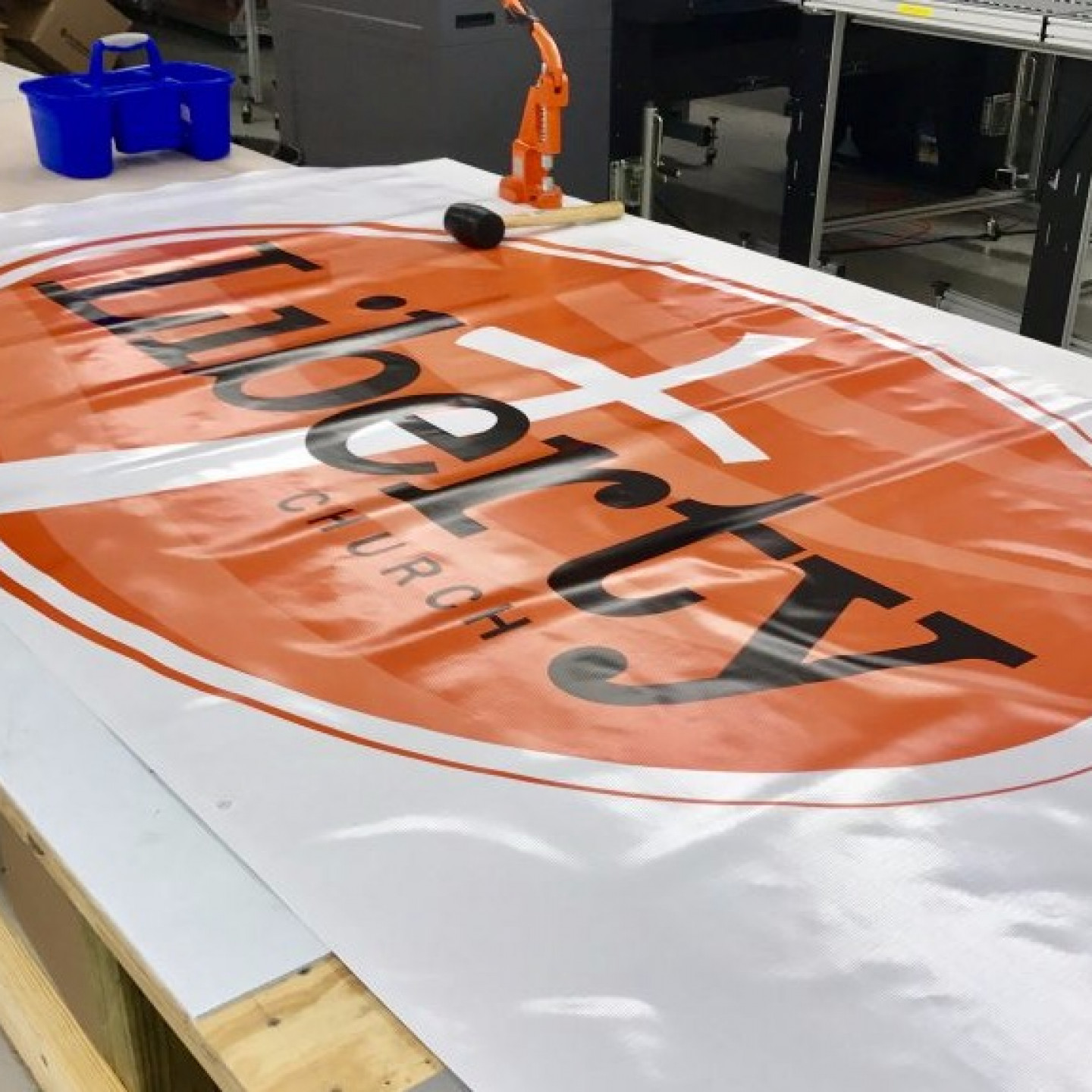custom banner from Texas for church opening ceremony